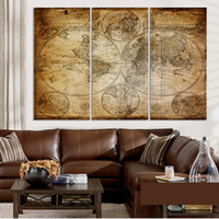 ancient map - Ancient decorative painting mural world map frameless abstract oil painting on canvas home decor No Frame
