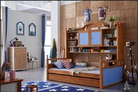Wholesale Youth kids teenage Children Soild Oak Wood Natural Color Solid Oak Wood Kids Bunk Beds with bookshelf Bedroom Furniture