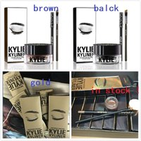 best pot sets - in stock set NEW Kylie Cosmetics By Kylie Jenner Kyliner In Black Brown Kyliner Kit with Eyeliner Gel pot Brush top quality best price