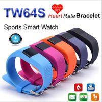 Wholesale Heart Rate Pulse SmartBand TW64S Pulso Inteligente Banda Pulse Measure Smart Band Sport Smart Wristband Health Fitness Tracker