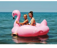 Wholesale 1 M Giant Inflatable Pink Flamingo Pool Floats Ridable Swim Ring Water Raft Air Mattress Summer Holiday Fun Pool Toys