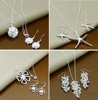 Wholesale with tracking number New Fashion women s charming jewelry silver mix jewelry set earrings necklace set