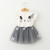 Wholesale Child Skirt Cute - Baby Girls Cartoon Lace Tutu skirt Sets Cat Top T shirt+Skirt 2pcs sets Infant Summer Short Skirt Suit Children Outfits Free shipping E1014