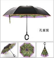 Wholesale reverse umbrella Hand Free Creative new Double Layer Inverted Umbrella Double Layer Inverted Kazbrella Upside Down Umbrella Inverted