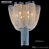art deco aluminum - French Chain Chandelier Light Fixture Empire Vintage Hanging Suspension Lustre Lamp Light Fitting