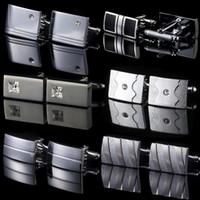 Wholesale 1 Pair Mens Stainless Steel Business Shirt Crystal Cufflinks Weeding Gift Styles