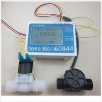 Wholesale G1 quot Water Flow Control LCD Display Flow Sensor Meter Solenoid Valve Gauge New