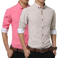 asia fashion clothing - 2017 Korea Fashion Brand Men s Clothes Tops Buttons Slim Long Sleeve Shirt Men Solid Color Cotton Casual Shirt Asia Size XL