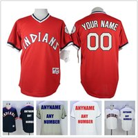 Wholesale Men s Cleveland Indians Custom Jersey Road Gray White Red Navy Blue turn back Baseball Jerseys