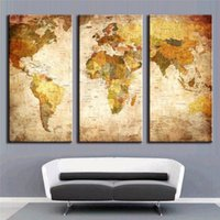 Cheap Unframed 3 Pieces Modern Printed Oil Painting On Canvas Old Retor World Map Home Decoration Canvas Painting