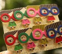 Wholesale Korean Style New Fashion Cute Glasses girl Gift Wooden Clip with rope Bag Paper Clips wood peg