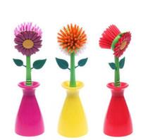 Scourer bathroom design tools - Multifunctional Cleaning Brush Sun Flower Shape Pan Pot Brush Set Base Design Multi Bathroom Brush Cleaning Tool Plastic Brush