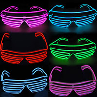 glass mask costume achat en gros de-3 Modes rapide Flashing EL LED Lunettes Luminous Party Lighting Colorful Glowing Classic Toys For Dance DJ Party Mask Rave Costume