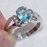 Cheap High quality blue stone wedding rings for women nuevos 2016 Fashion jewelry for women party bijoux femme