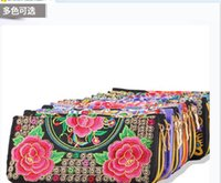 Wholesale The Most Gorgeous National Wind Bags Hand Embroidered Purse Within Long Zipper Wallet Prink More Flower Screens Holders
