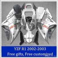kits del carenado Fiat para Yamaha YZF R1 2002 20003 de plata plástico ABS de la motocicleta carenado 02 03 YZF R1 Racing Kit de moto carenado con regalos