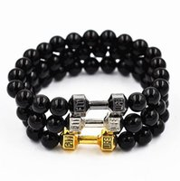 Wholesale 8pcs New fashion jewelry Alloy Metal Barbell with black stones beads Fitness Dumbbell Bracelets