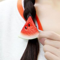 apple hair accessories - Dummy sliced fruit apple watermelon Charms Bracelets Women Strong Elastic Black Rope hair tie ring Hair Accessories