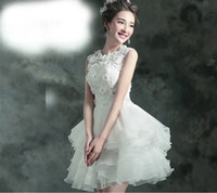Wholesale Short Wedding Dresses Vestidos De Noivas Handmade Flowers Cap Sleeve Wedding Bridal Gowns