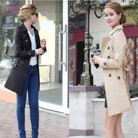 Wholesale New Fashion manteau femme hiver winter Lapel Neck long sleeve coat women abrigos mujer plus size Trench Coats Tops Jacket
