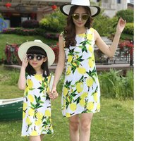 Wholesale 2016 Brand New Arrival Summer Family Matching Mother Daughter Print Lemon Dress Clothing Set Mom And Daughter Fashion Dress