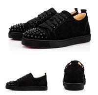 Chaussures Party Dress anniversaire, Chaussures de skate Flat Red Bottom est noir en daim Pointu junior Spikes Hommes Femmes Sneaker Rouge Sole EUR36-46