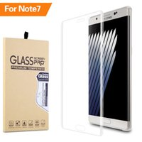 Wholesale Full Cover Curved HD Tempered Glass Note7 Screen Protector for Samsung Galaxy Note Transparent Clear Color With Retail Package