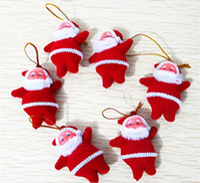 Wholesale 5cm Christmas Decorations Mini Santa Claus Dolls Design Xmas Tree Ornaments Hangings Props Gifts Drop Shipping SD043