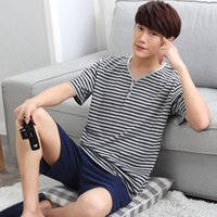 Wholesale Fashion Sport Pajamas Summer Lounge Wear Cotton Short Trousers Men Modal V neck Pajamas set Striped Tracksuit Male