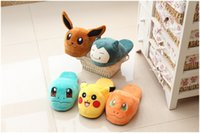 2016 Poke Cartoon Go Chaussons mignon Pikachu Eevee Umbreon Squirtle peluche Chaussures Accueil Maison Hiver Chaussons Enfants Xmas Gift