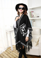 Wholesale fashionable knitted acrylic winter women warm geometric oversized poncho for old black and burgundy colors available retail
