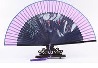 Wholesale Foldable green solid color Paper Hand Fan cm with bamboo ribs for party fovor summer Folding Bamboo Hand Fan