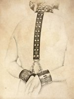 slave collar - Top quality bdsm gear slave collars chains bondage handcuffs with lock leather sex toys
