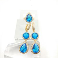 aqua emeralds - New Arrival Sky Blue Emerald White Topaz Silver Jewelry Sets For Women Rings fashion Earrings Free Jewelry Box