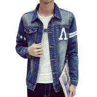 big jean jacket - Star Print Fashion Men s Cotton Denim Jackets Man Jean Jacket Coat Casual Black Blue Denim Jacket Hight Qulity Big Size M XL