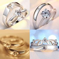Wholesale Fashion jewelry Jewelry Korean version of the opening silver rings couple silver jewelry live on zircon ring diamond ring Wedding ring