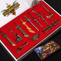Wholesale League Of Lengends Weapon Sets Set Alloy Keychain Necklace Pendants Cartoon Cosplay LOL Games Characters Collection Toys Gifts GZ T06