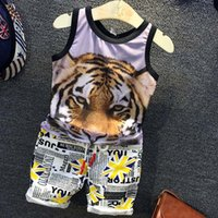 best whites leopard - Fashion Best Suits Kids Tank Tops Boys Clothing Sets Child Clothes Summer Shorts Boys Suits Children Set Kids Outfits Lovekiss C24835