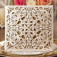 Wholesale Laser Cut Wedding Invitations Cards Engagement Marriage Party Invitation for Marriage Graduation Birthday Invites Card Black Beige Gold