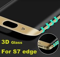Wholesale 0 MM For Samsung Galaxy S7 Edge Front Full Screen Protector Tempered Glass Cover Whole Screen Curve Screen Protector With Retail Package