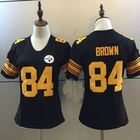 Wholesale Womens Color Rush Antonio Brown New Style Women Pittsburgh Rush Football Limited Stitched Jerseys Embroidery logos