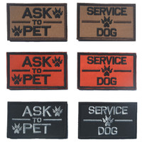 badge printing service - 50 PCSASK PET SERVICE DOG K9 Badge Tactical Patch Morale Patches Hook Loop D Embroidery Badge Military Army Badges free ship