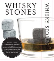 Wholesale 9pcs Natural Whiskey Stones Sipping Whisky Stones for Whiskey Wine Stone Rock Wedding Gift Favor Christmas Bar