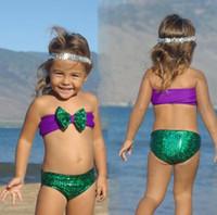 Wholesale 2016 Europe Fashion Girls Swim Suit Sequins Mermaid Child Kids Baby Girls Bowknot Bikini Swimsuit Baby Swimwear Set