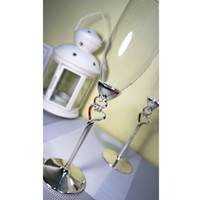 Wholesale 1 pair Hot selling wedding glass champagne flute goblet lovers cup red wine cup wedding gift sets crystal heart shaped heart shaped