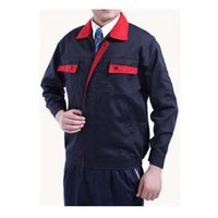 Wholesale Work Uniform Clothes Welding Vehicle Repair Superior Fabric Five Size Long Sleeve Safety Protective Clothing Navy and Bright Red Collar
