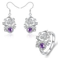 Wholesale Best gift fashion Diamond flower silver earring ring jewelry sets online for sale sterling silver purple gemstone set wedding GTFS097B