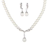 Wholesale Graceful Ladies Women s Alloy Wedding Party Jewelry Set with Pearl Rhinestone Including Necklace Earrings
