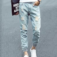 band trousers - Summer Hiphop Man Jeans Cropped Pants Ripped Distressed Retro Vintage Ankle Banded Trousers Denim Rock Jean Men Print Dot Balman