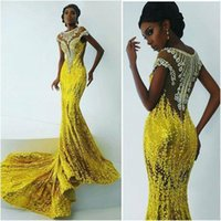 africa beads - Bright Yellow Mermaid Prom Dresses For Africa Women Applique Beads Evening Gowns Sweep Train Sequins Black Girl Party Dresses DZ